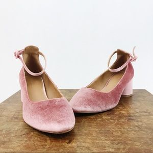 NEW ASOS Pink Blush Velvet Pump Heels Ankle Strap